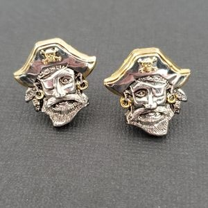 Best Signed Silver & Gold Pirate Clip Earrings